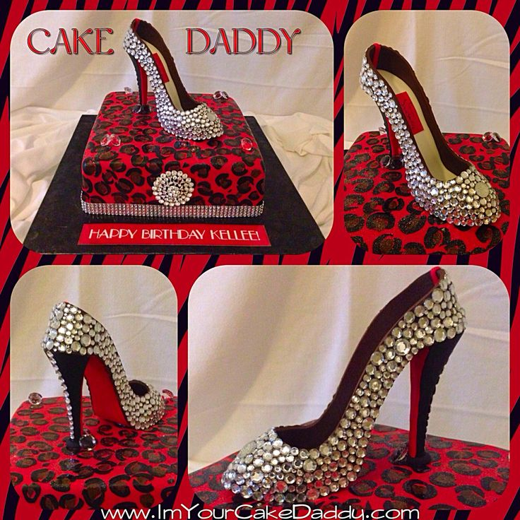 Custom blinged red bottom stiletto shoe on top of cheetah print birthday cake.