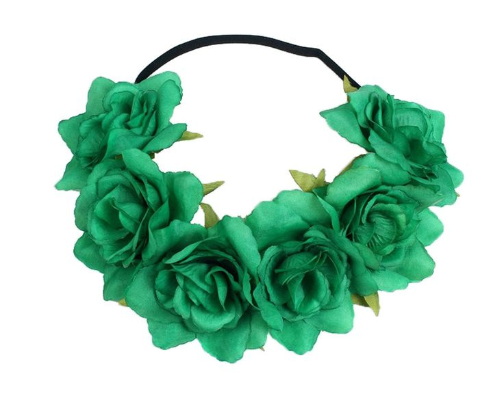 Floral Fall Rose Holiday Christmas Crown Festival Headbands Hippie Flower Headpiece F-53 (Green)