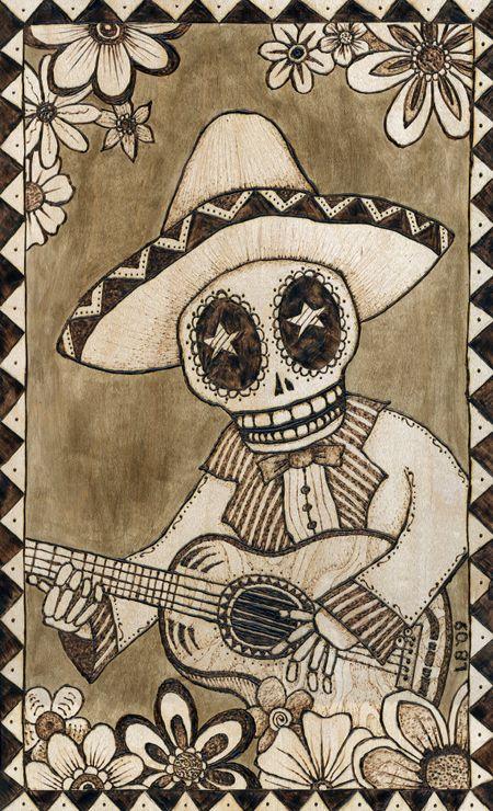 Muchas personas dibujan a sus familares como una calavera por que son los que fallesieron  y que les guataba haces como tocar guitarra