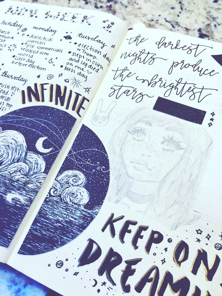 """half-pound-cake: """"[11.20.16] I've taken to drawing in my bullet journal recently, so my next few spreads do contain my trashy replicated art. XD I hope you like them though! I really enjoy this spread and I hope you do as well. :) """""""