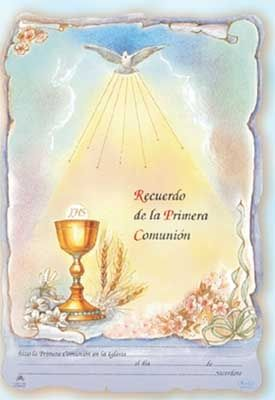 Spanish First Communion Certificates - Certificados de Primera Comunion