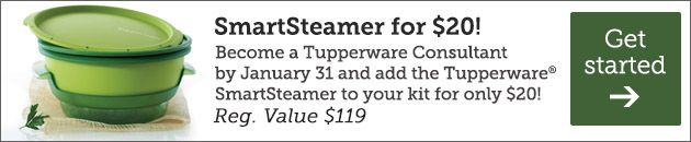Become a Tupperware Consultant by January 31st and add the Tupperware SmartSteamer to your kit for only $20!  Regular price is $119.00.  This product was seen on the Dr. Oz show!
