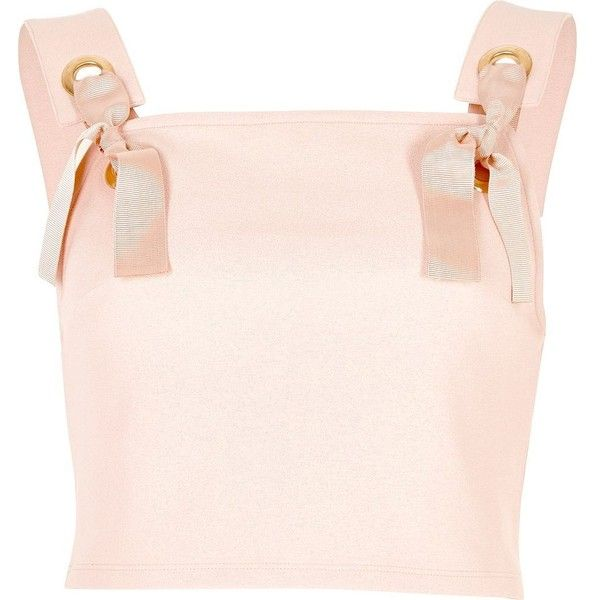River Island Light pink eyelet tie crop top (815 UAH) ❤ liked on Polyvore featuring tops, crop tops / bralets, pink, women, tie crop top, cut-out crop tops, pink top, bralet crop top and bralette crop top