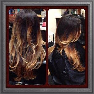 Ombre fade hair color, black to blonde, dark brown