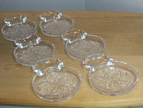 Vintage Glass Coasters With Spoon Rest Ashtray Pressed Glass