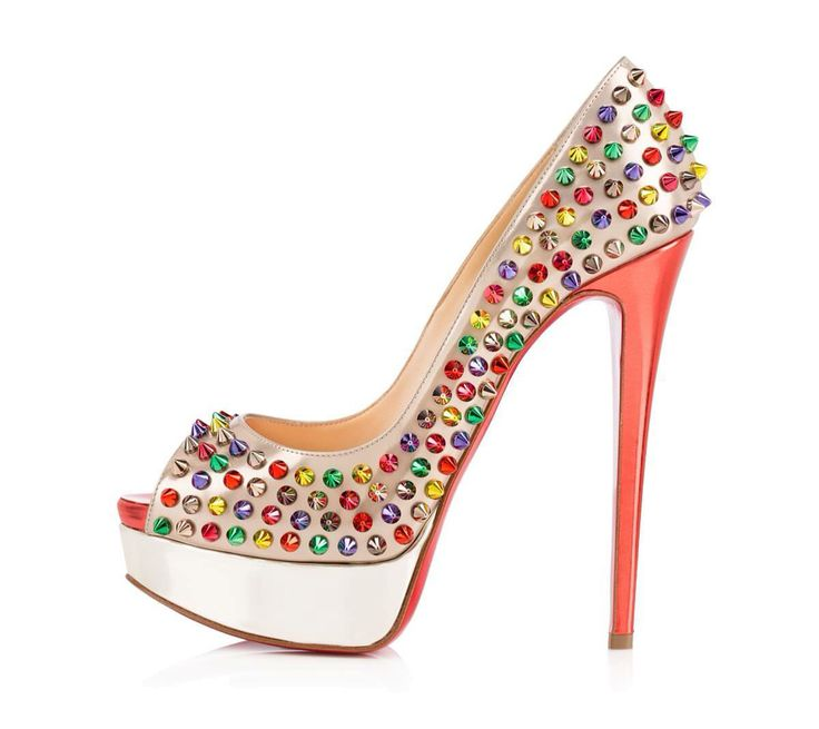 Christian Louboutin Shoes, Bellisima, Red Bottoms, Spikes, Laser, Peeps,  Electric, High Heel, Shoes