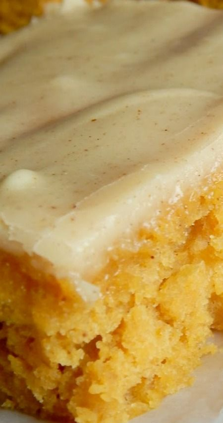 Iowa Pumpkin Sheet Cake ~ A bit different from your typical pumpkin bar,  these have a unique secret ingredient and a frosting that is mouthwatering!