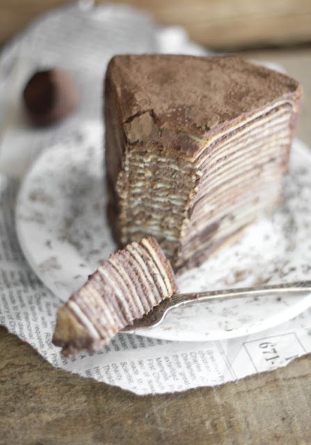 Chocolate Amaretto Crêpe Cake. (Note: The cream filling is traditionally made with pastry cream or heavy whipping cream and marscapone.)