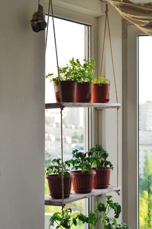 Купить Полка для комнатных растений - белый, полка, полка для кухни, полка из дерева, полка для растений