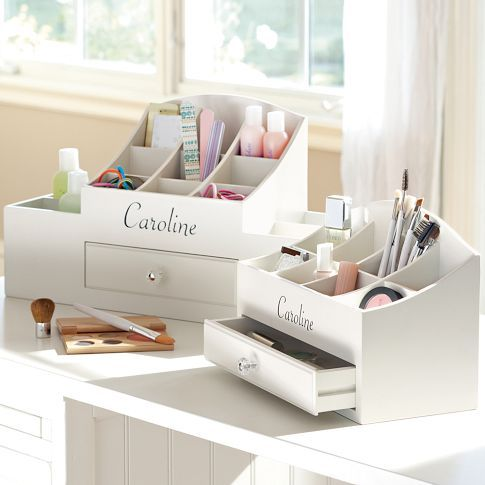 Ultimate Beauty Organizers | PBteen #PBDORM This would be awesome because I have tons of jewlery + eye maakeup and it needs to be organized :P + it would have my name on it! <3