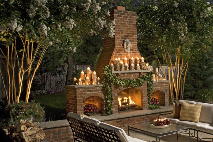 The fireplace in my neighbor's backyard -- best place for a cocktail :)