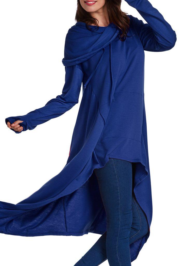 Long Sleeve Navy Blue Drawstring Hoodie | Rotita.com - USD $31.93