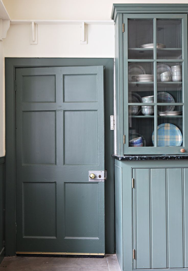 Traditional Scottish kitchen style, with woodwork painted in ANTA Ancient Blue.