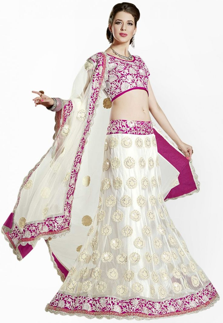 Off White Embroidered Lehengas at 24% OFF
