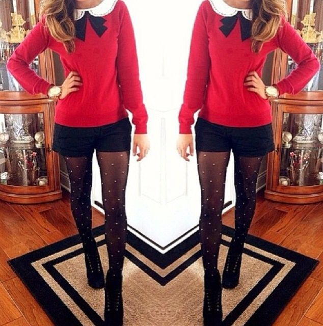 I love this holiday outfit, but I would wear boots instead of heals. :)