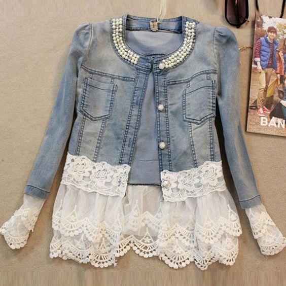 Günstige Jeans jacke frauen casacos feminino dünne spitze ...