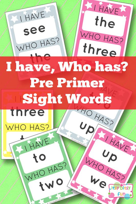 Pre Primer Sight Words I Have Who Has Printable Game. Fun sight word game for kids!