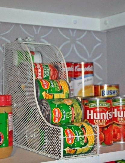 Day 7 #ClosetMakeover  Kitchen Organization doesn't always have to cost a lot of money. Be creative when coming up with ideas of how to store and display your goods. Using a magazine rack flipped on its back to store canned goods, or an old crate repurposed to hold paper towels.  Use small wood crates stained and labeled to help keep pantry food organized together.