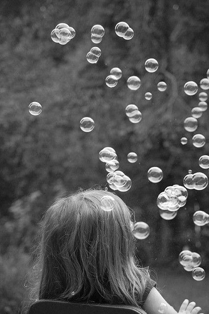And I remembered teaching my little niece to blow bubbles by gently oh so gently breathing into the loop.