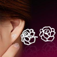 925 sterling silver Earrings jewelry  Fashion Peony hypoallergenic earrings EED003