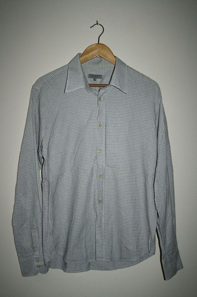 47357b83f Ted Baker Fashion Designer Geometric Cream Men s Shirt Cotton Casual Size M   TedBaker  CasualShirts