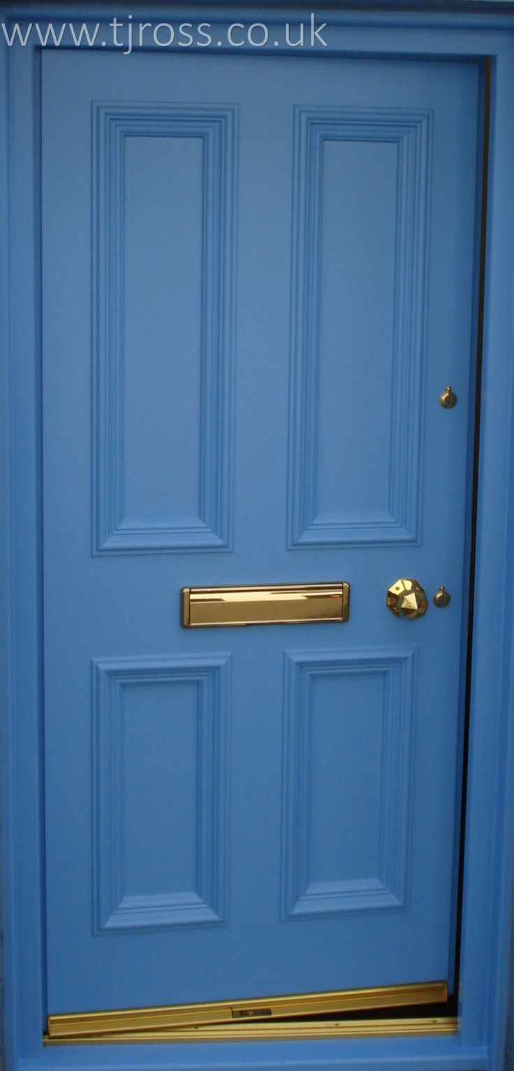Cool Blue. External door, painted door Farrow & Ball paint, RAL colour, entrance door