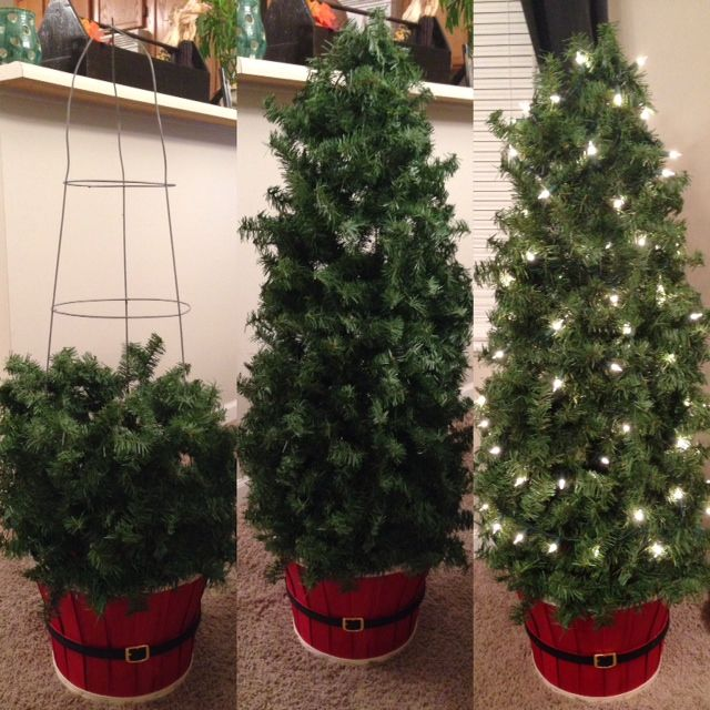 How to Make Inexpensive Indoor/Outdoor Topiary Trees ( Tomato Cage & Garland