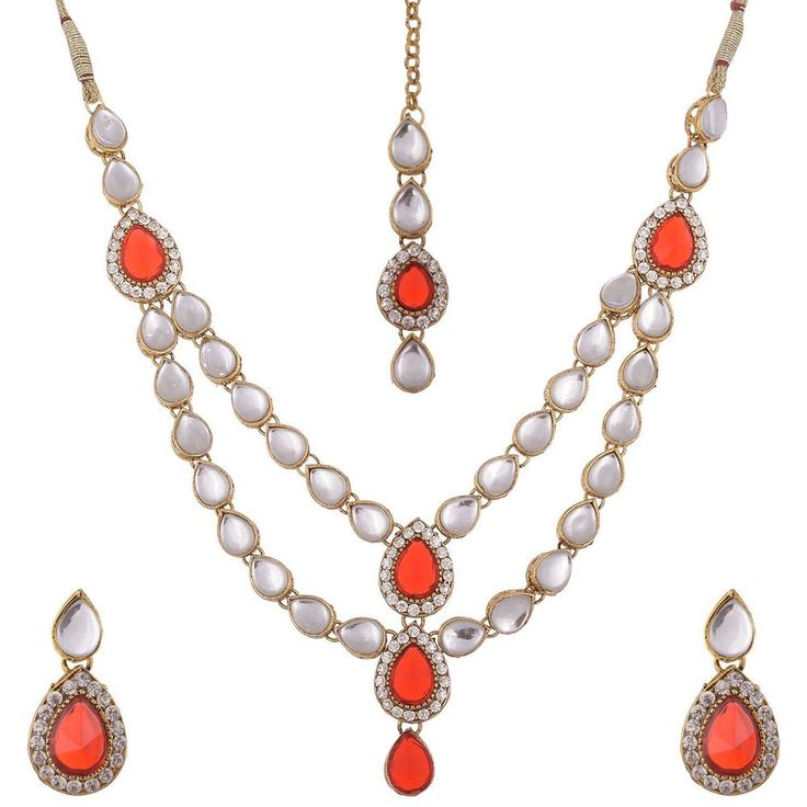 Gold Plated Kundan Red Stone Traditional Indian Bollywood Jewelry Set #natural_gems15