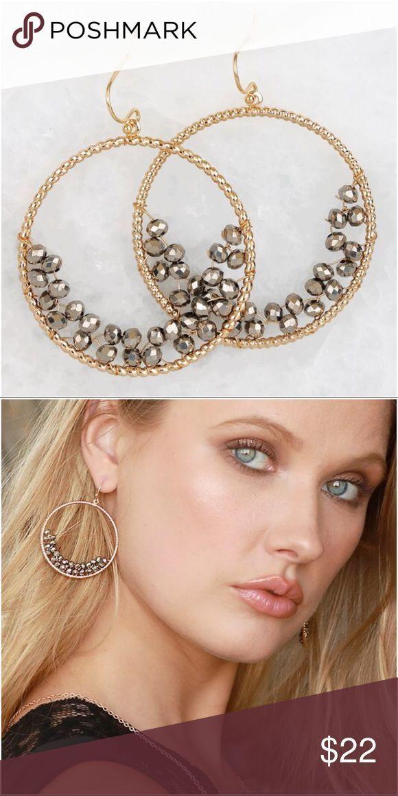 Hematite beaded hoop earrings Hematite beaded hoop earrings  Add to bundle to sa…