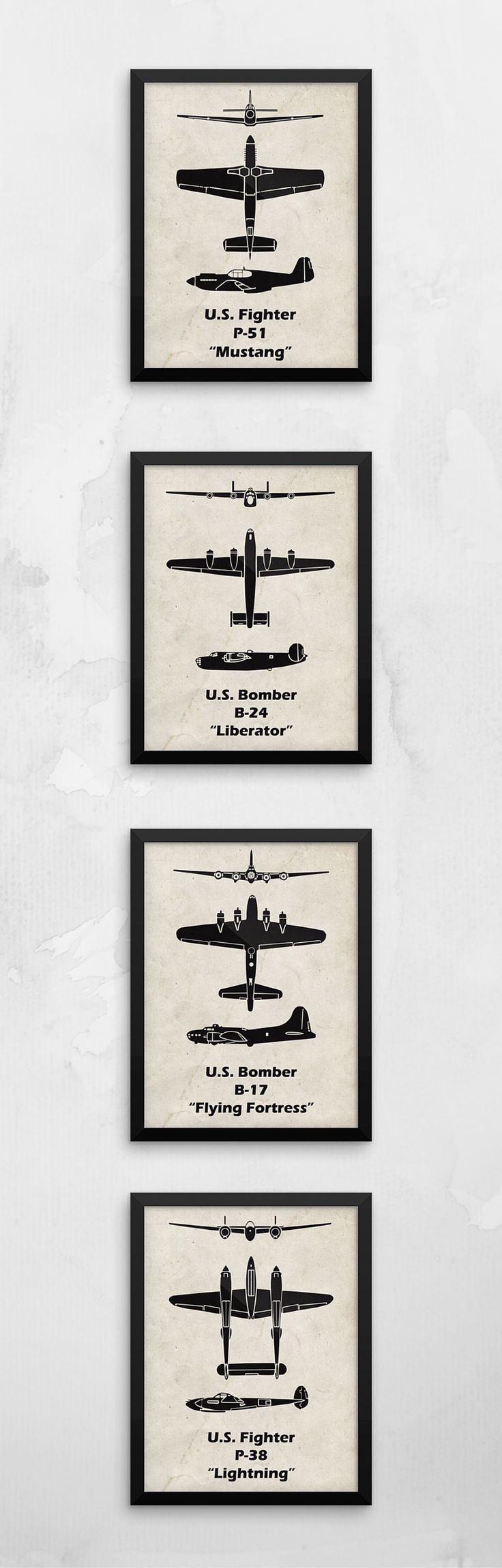 I love these Airplane prints!!! They look like the spotter cards from WWII. I'd love to hang some up in my nursery.