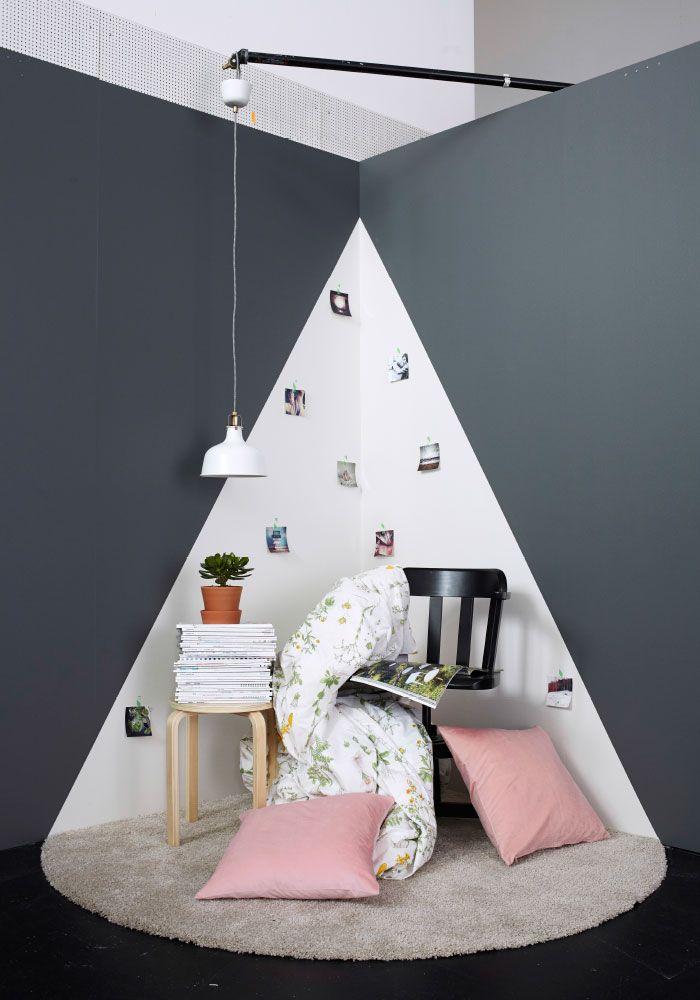 Angle d'une pièce et coin lecture Ikea