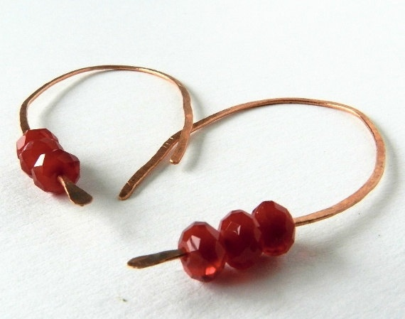 Copper Earring Hoops Red Crystal Beads by MaartjeJewels on Etsy,
