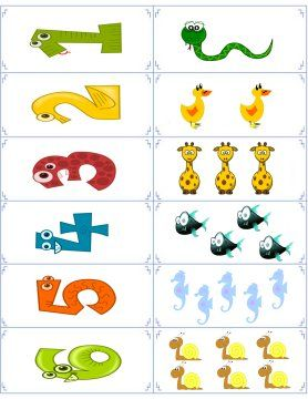 Free flashcards (with animals) for the numbers 1 through 10.