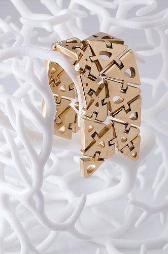 3D printed gold jewelry design by Nervoussystem