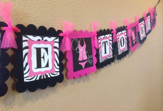 Ooh La La Bachelorette Zebra Banner  Pink by EmeraldCityPaperie, $26.00