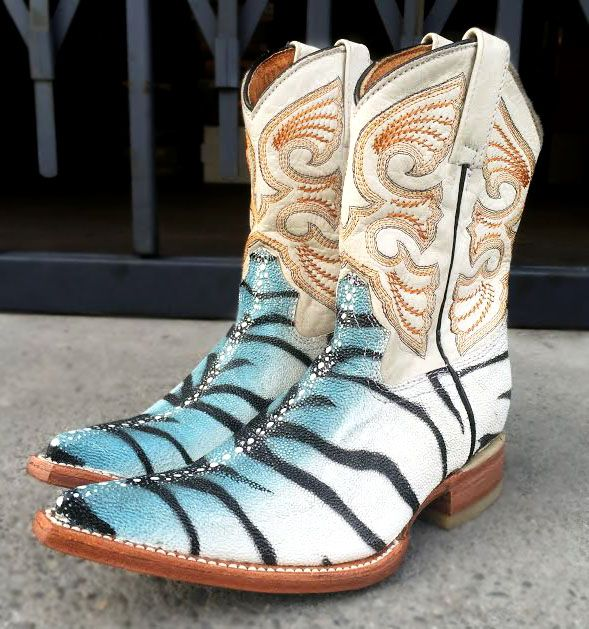 Boys Cowboy Boots Tiger Stingray Western Brown Dress Rodeo Youth Pointed Toe NEW
