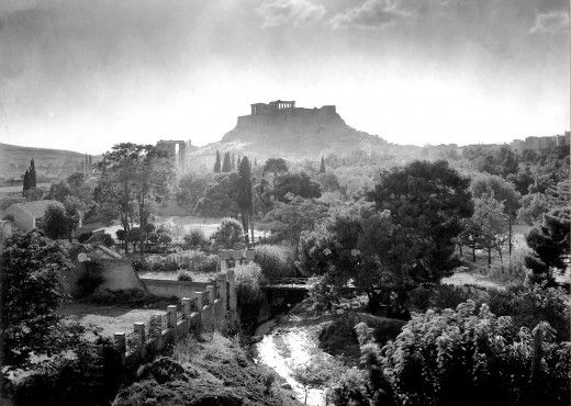 1910. Athens, Ilissos river, Temple of Zeus and Acropolis in the background