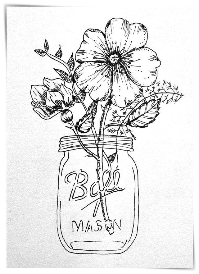 Mason Jar Clip Black Art