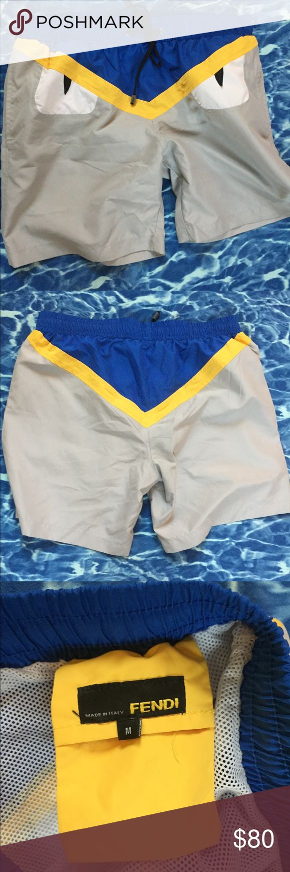Men's Fendi Monster Swim Suit Men's Fake Fendi Monster Swim Suit. This Fendi swim suit is fake but fabulous! Quality is really great. Worn once and did not even go in the water lol. Seriously awesome men's bathing suit!!! Hard to find retail Fendi stores or even as a designer copy. Fendi Swim Swim Trunks