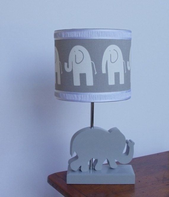 Elephant Lamp - Handmade Wooden Animal Desk or Table Lamps - Great for Nursery or Child's Bedroom on Etsy, $50.00