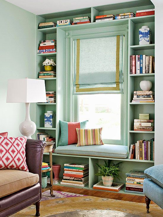 I always love the extra storage, seating and character you can add with built ins! Love the colors too!