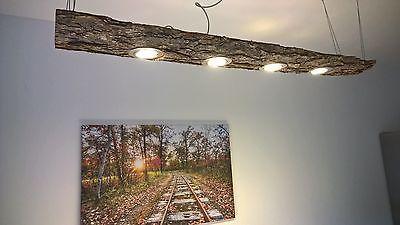 details zu led decken holz lampe rustikal 120cm 4x 7w massivholz limitiertes unikat lumin ria. Black Bedroom Furniture Sets. Home Design Ideas