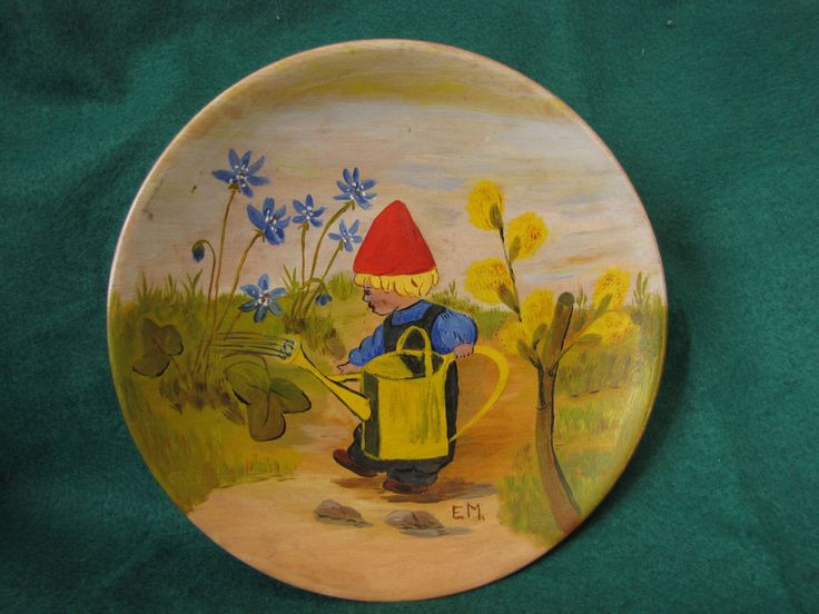 Vtg Ceramic Wall plaque Boy sprinkling Flowers Handmade Artist signed EM Gre