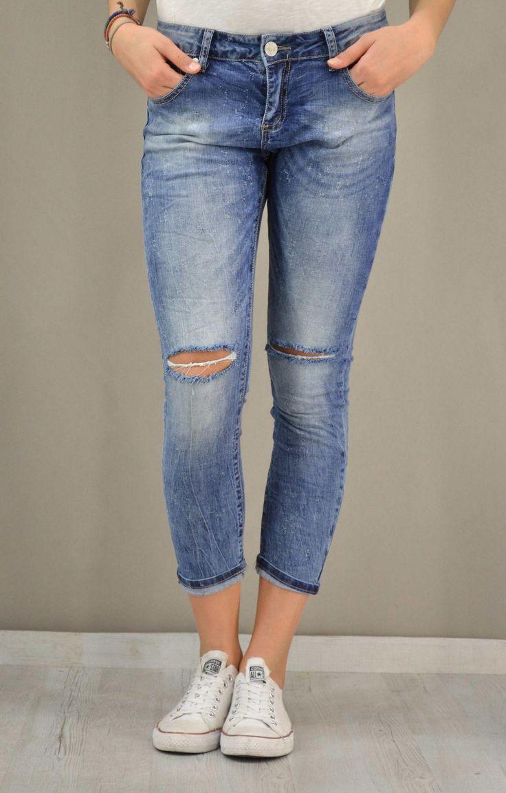 Γυναικείο τζίν cropped με σκισίματα | Παντελόνια jeans - Jeans &