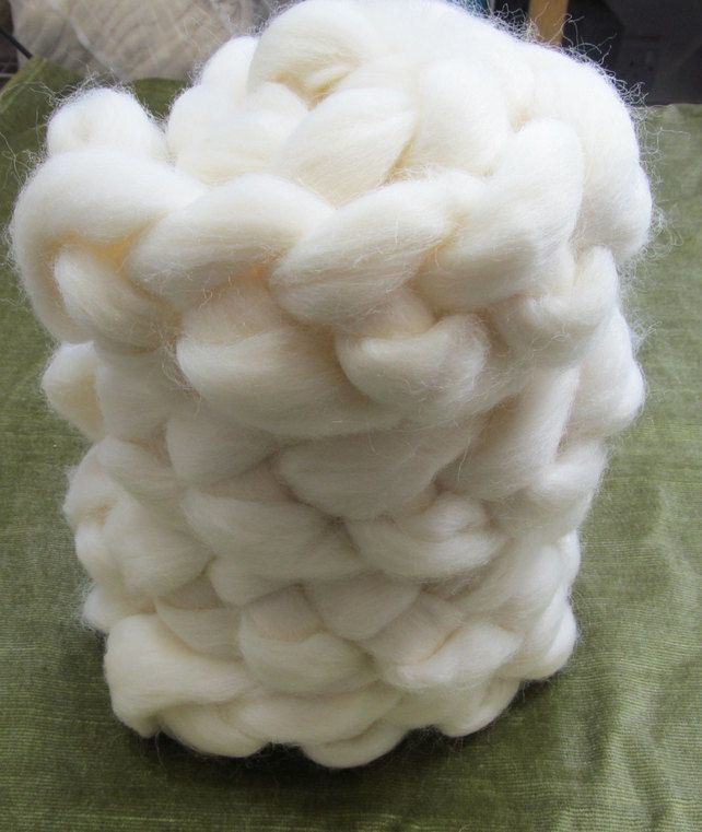New Zealand White Wool Combed Top Roving 100g 3.5 Oz Natural
