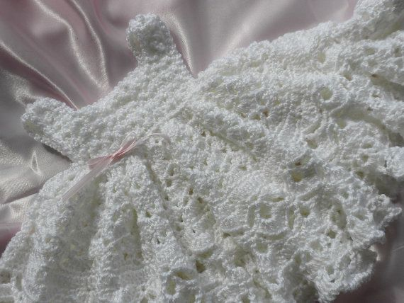 White Crocheted Baby Girl Dress With Full Ruffled Skirt For Christening/Blessing,Picture or Photo Prop. $65.00, via Etsy.