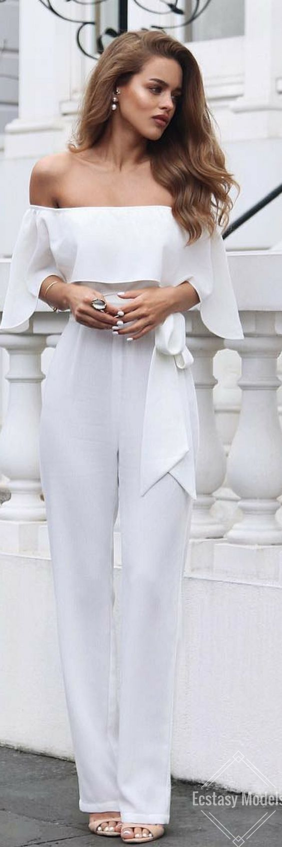 Chic white outfit~  #fashion, #outfits, #white, @ellezeitounedesigns jumpsuit // Fashion Look by Nada Adelle