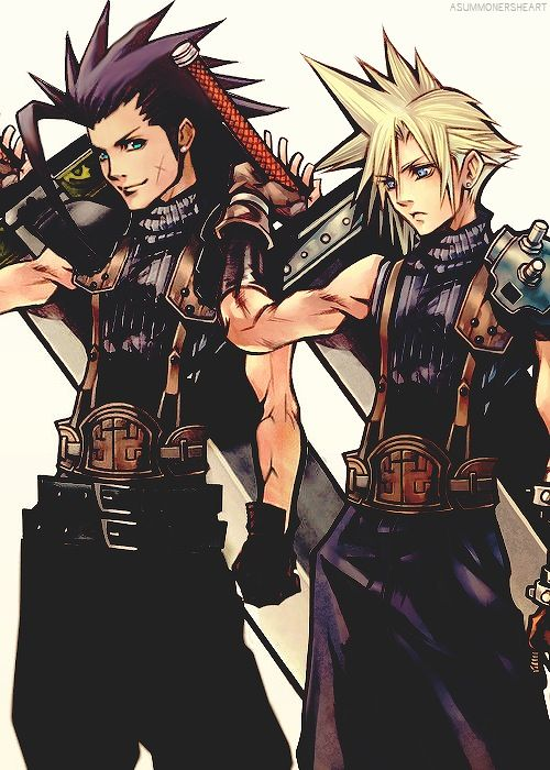 Zack Fair and Cloud Strife. Fan art and official art. Final Fantasy VII.