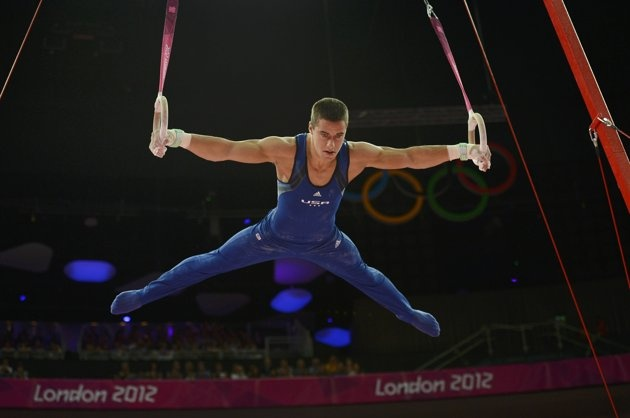 Jacob Dalton of the U.S. competes in the rings event during the men's gymnastics qualification at the London 2012 Olympic Games