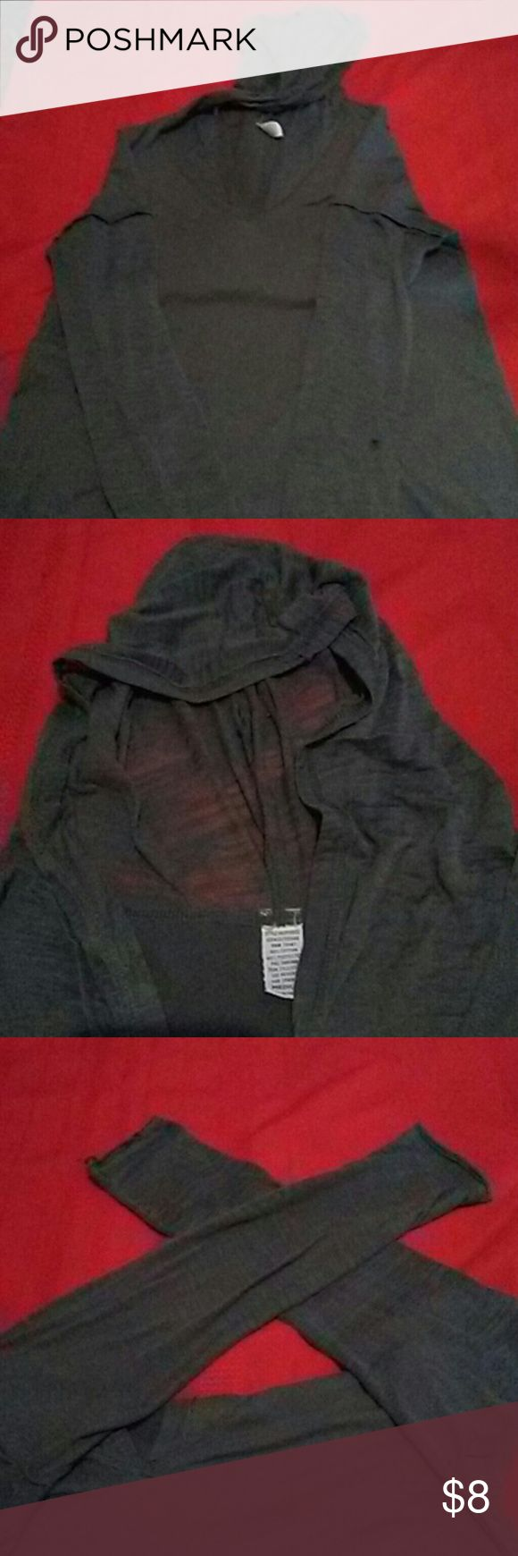 Gray thin hoody This hoody gives the look of two shirts the hood and sleeves are very sheer. The body is thin and comfy no tags Tops Tees - Long Sleeve